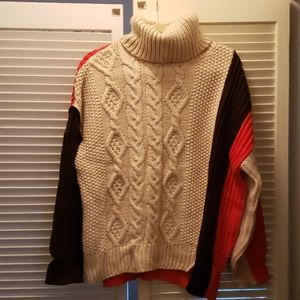 Zara knitwear colorblock turtleneck sweater